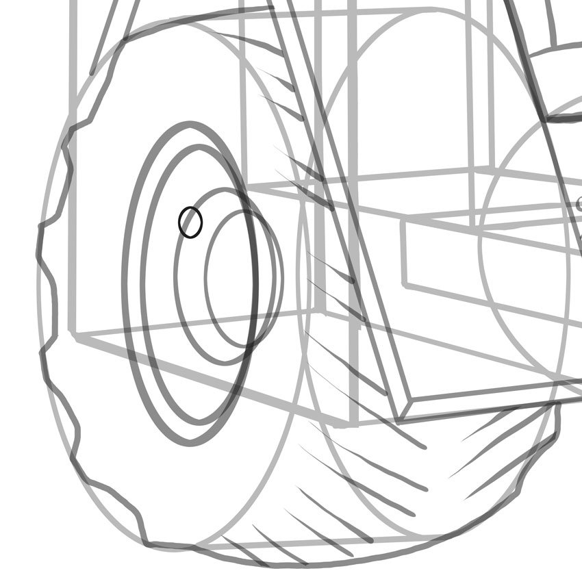 Very small ellipses will be the wheel nuts