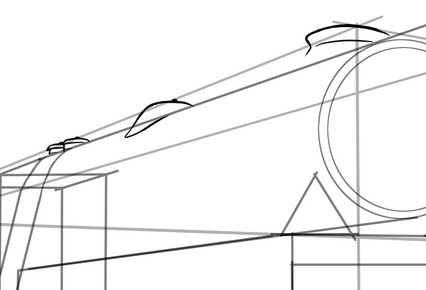 Now we start adding other details such as the funnel and dome