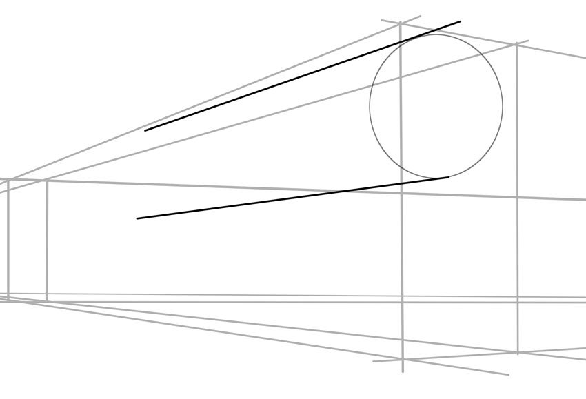 Then extend with two straight lines use your vanishing points though