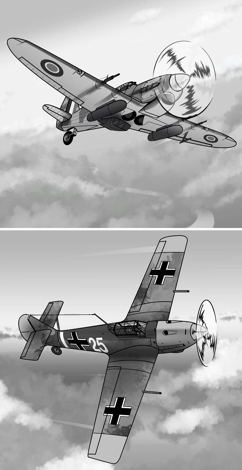 The Spitfire had companions like the Hurricane top and rivals like the Messerschmitt bottom