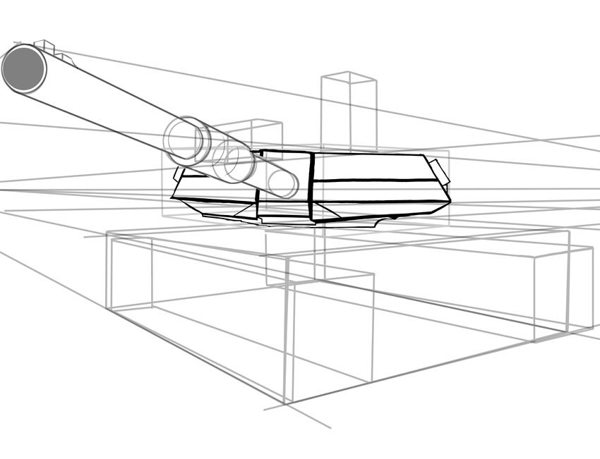 The turret can be divided into two parts by the pivot for the main gun