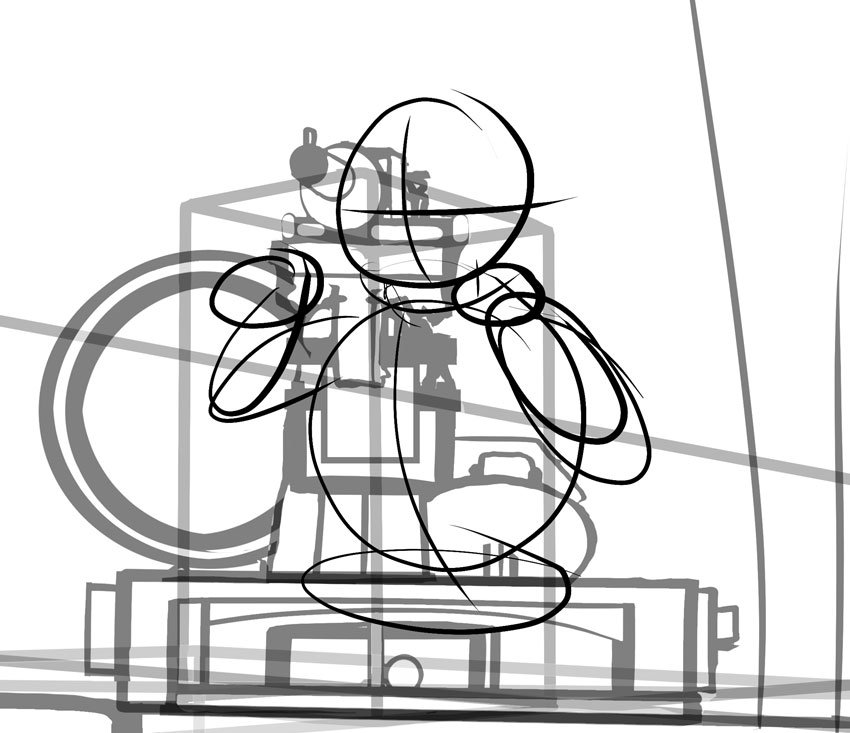 You can construct a soldier firing the gun using simple shapes too