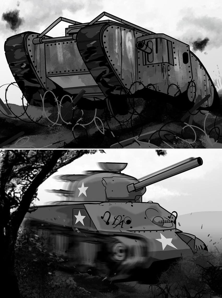 WW1 tanks like the Mark 6 were not too successful compared to the Lee and Sherman of WW2