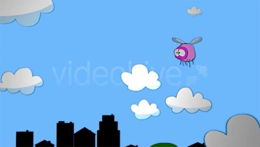 Bug in the city cartoon frame