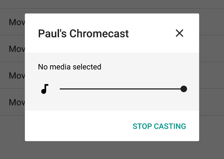 Routing dialog when connected to a casting device but not casting