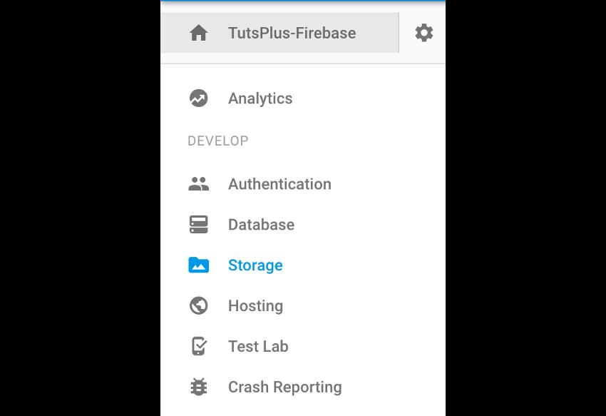 Firebase storage section navigation