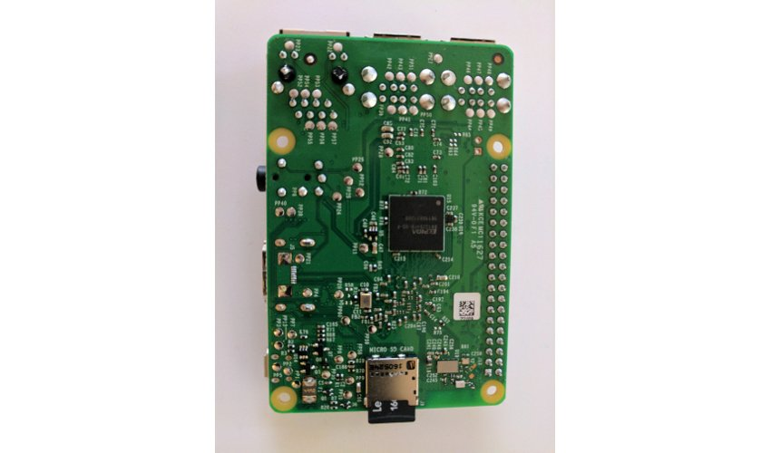 Raspberry Pi with inserted SD card