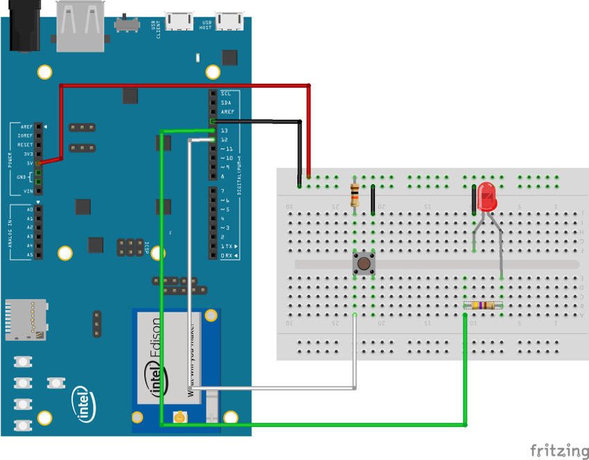 Wiring diagram for project using Intel Edison with Arduino breakout board