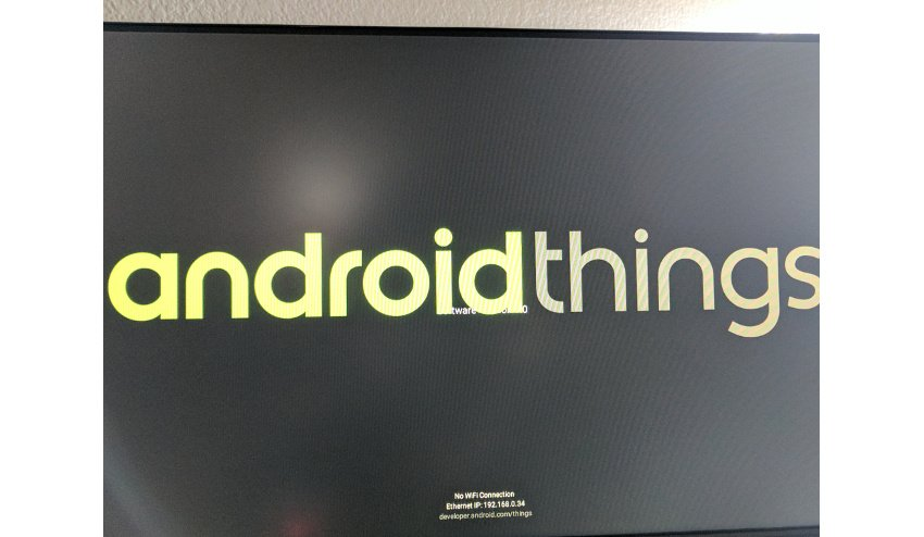 Android Things display screen with IP address shown