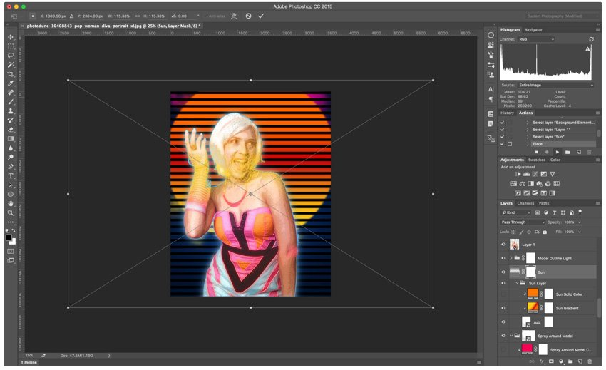 placing a layer