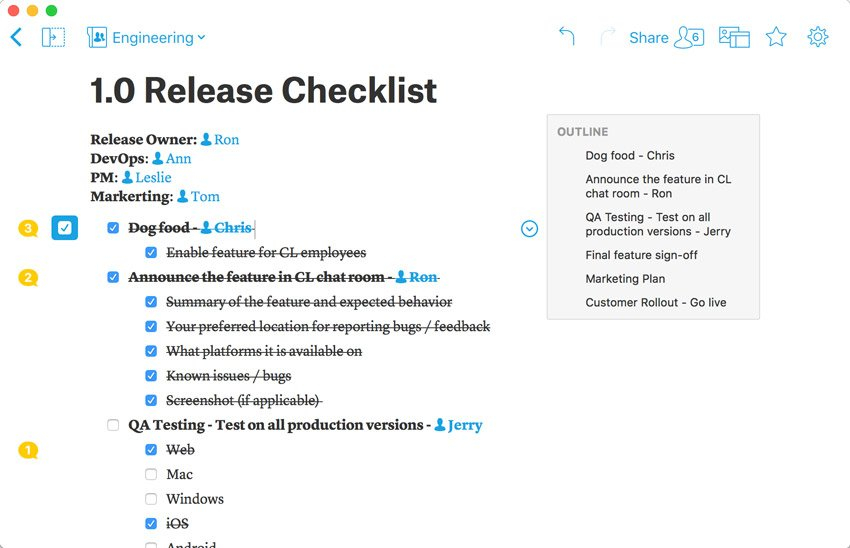 quip checklist