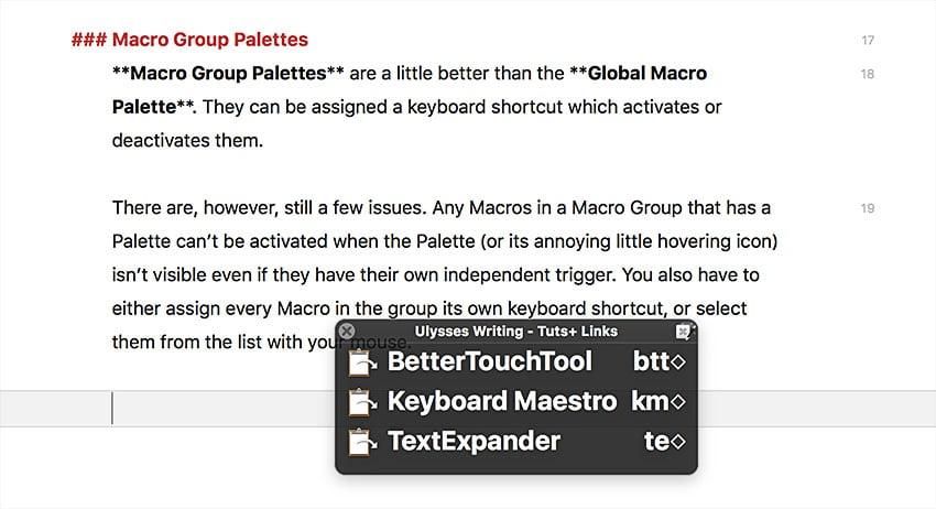 macro group palettes