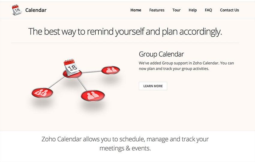 zoho online calendar app