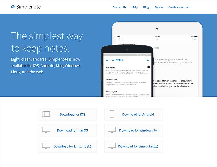 Note Taking Software Simplenote