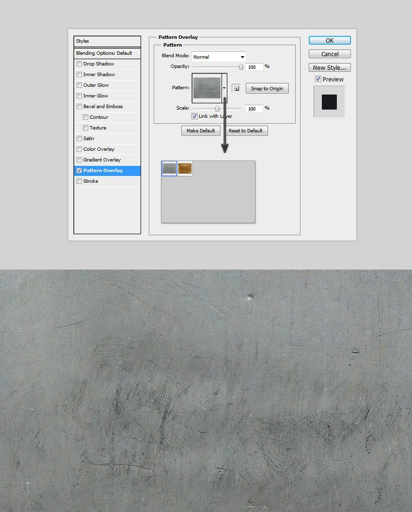 Pattern Overlay to the gold style photoshop