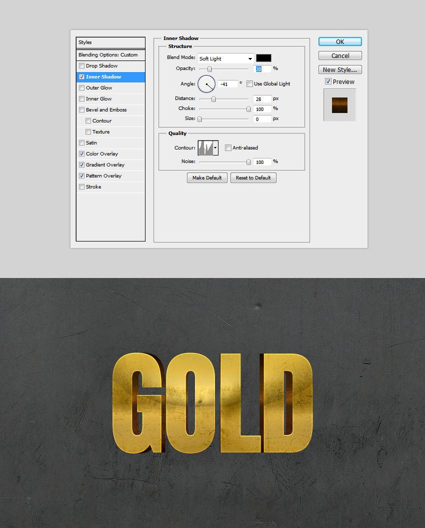 Inner Shadow 3D Text Effect