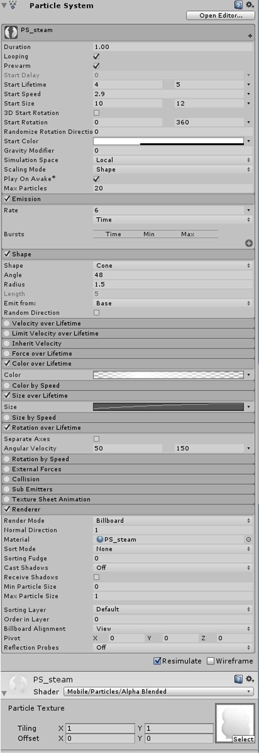Particle System for steam effect