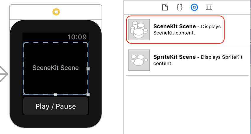 SceneKit Scene Interface Item