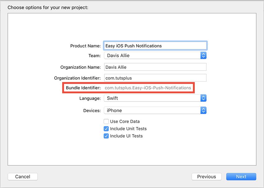 App Info and Bundle Identifier