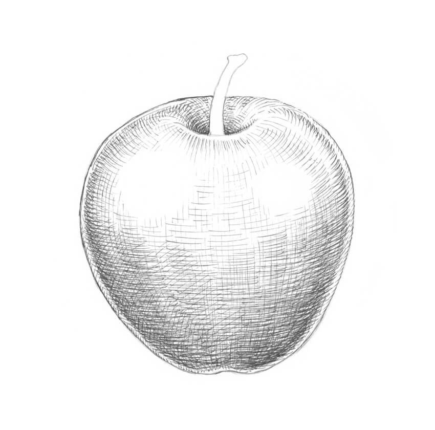 Adding hatching to the sides of the apple