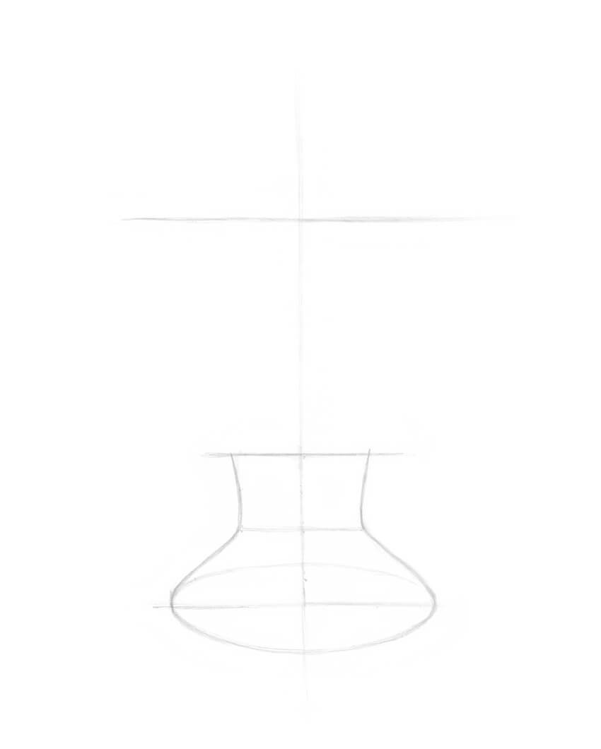 Drawing the stem of the bowl