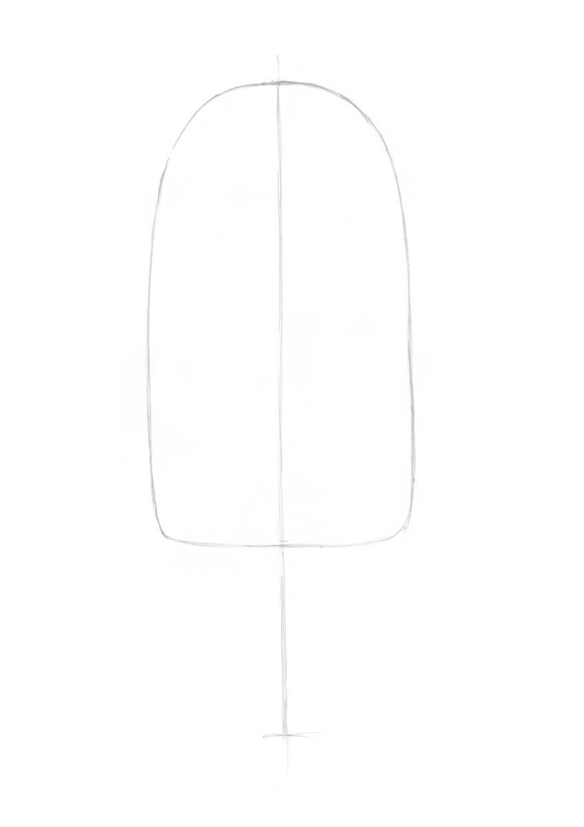 Outlining the shape of the ice cream