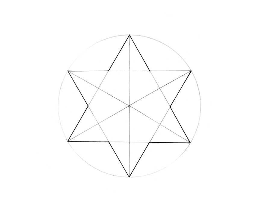 The shape of the star outlined with ink pen
