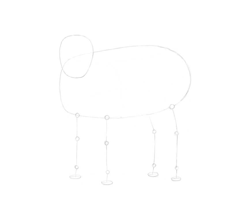 Drawing the stylized framework of the feet