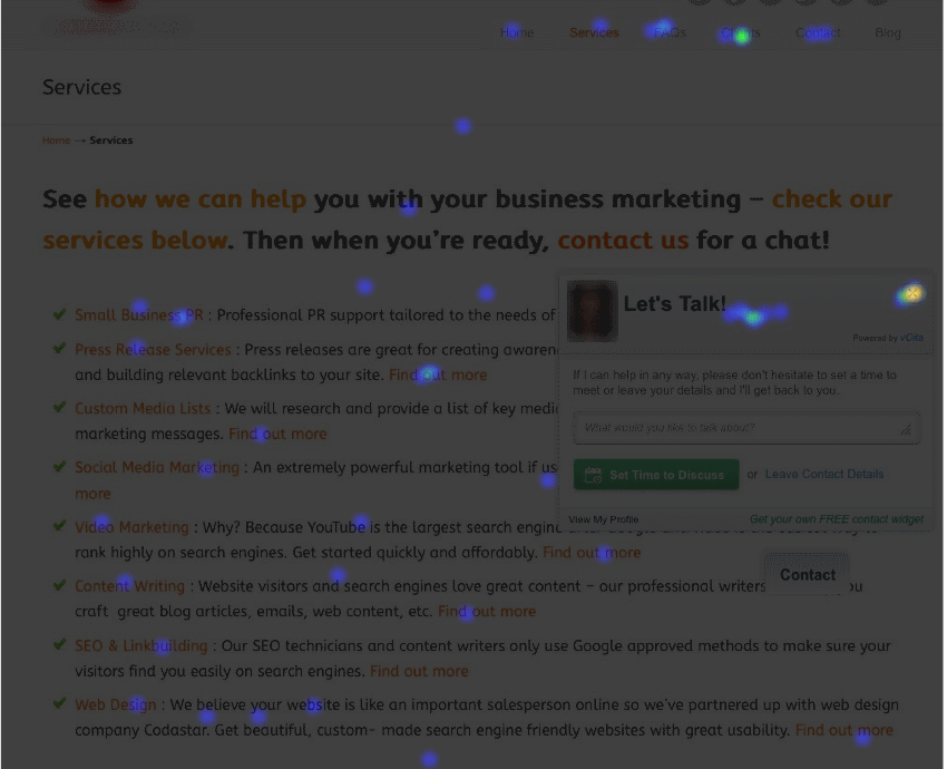 Example of a heat map on a small business website