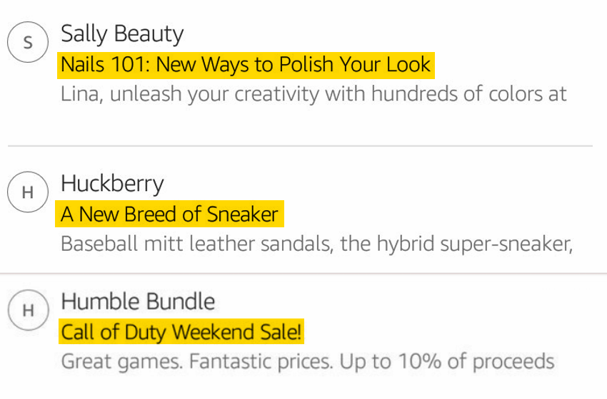 Examples of title case in email subject lines