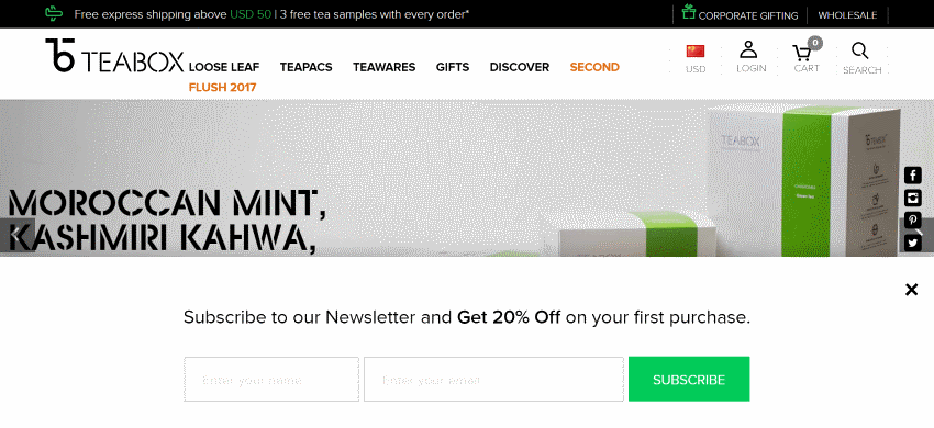 Example of a pop-up offer