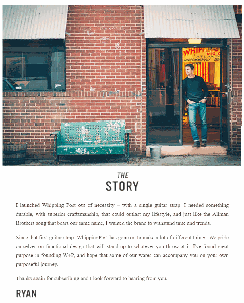 Brand story email example