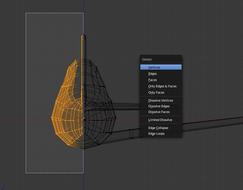 Select all vertices of left side