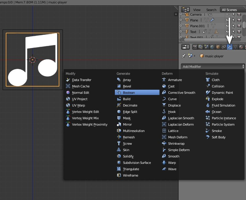 Add Boolean modifier to logo plane