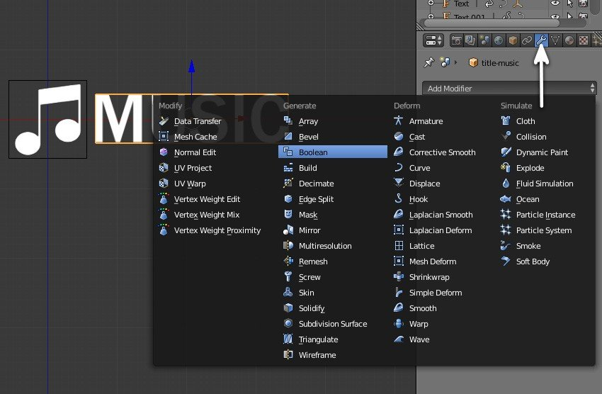 Add Boolean modifier to the text plane