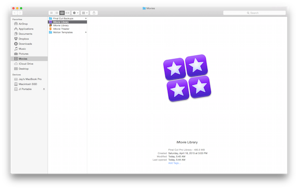 iMovie Library in Finder