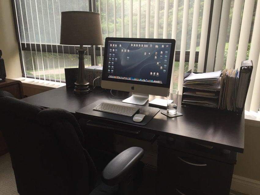 Desktop computer facing big window