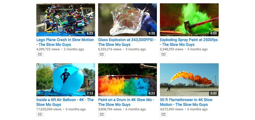 Video thumbnails showing action