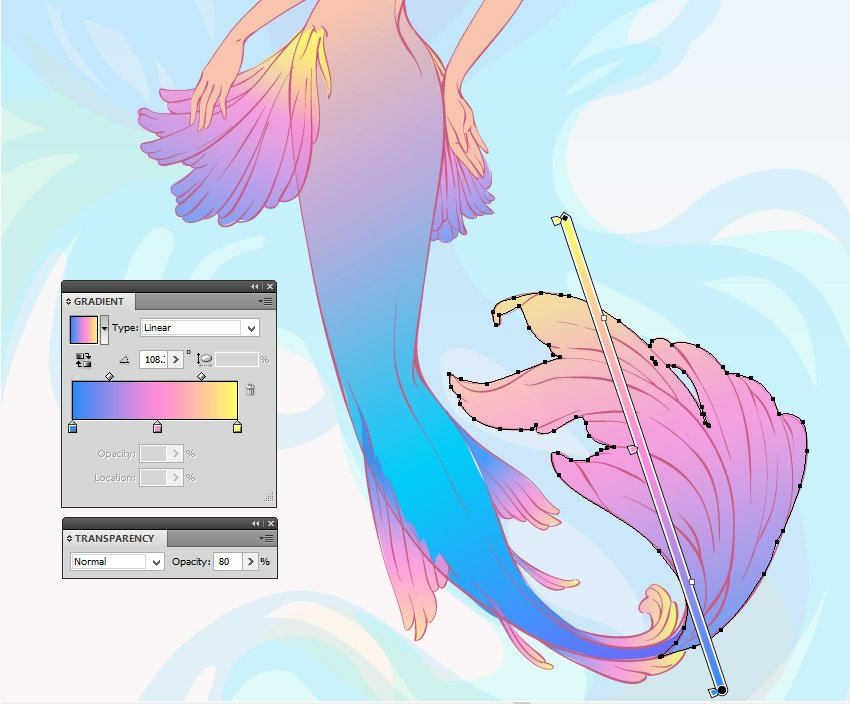 gradient for the fins