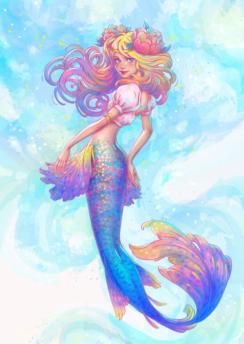 Watercolor Mermaid Illustration Illustrator Tutorial