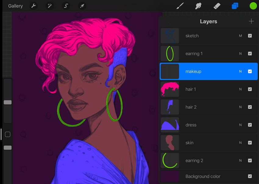 Neon Portrait Procreate Digital Drawing Tutorial organize the layers