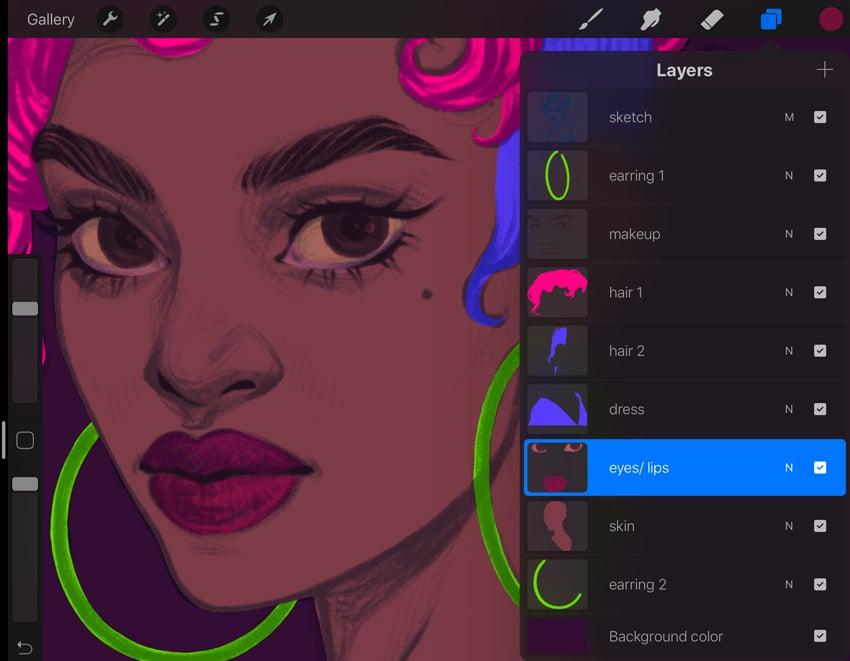 Neon Portrait Procreate Digital Drawing Tutorial makeup main colors