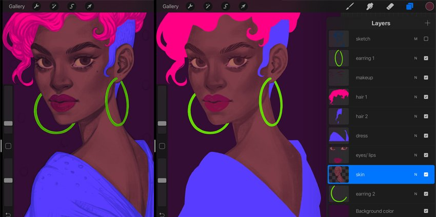 Procreate Portrait Painting Tutorial first shadows layer