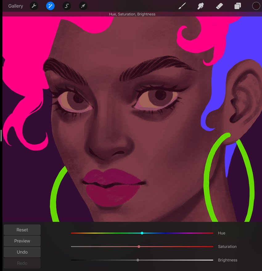 Procreate Portrait Painting Tutorial change a makeup brightness