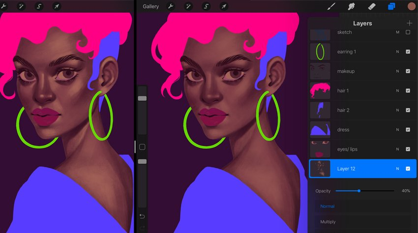 How to Paint a Portrait in Procreate Tutorial second highlights layer