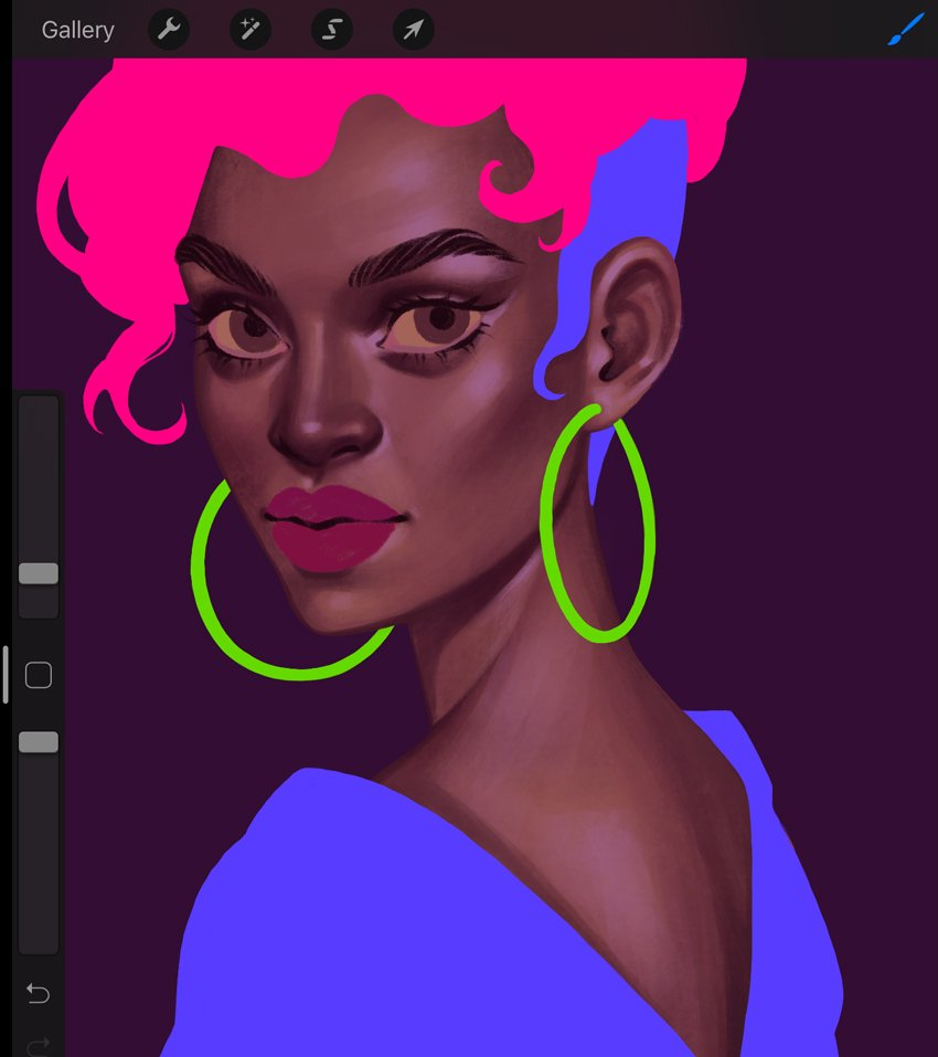 How to Paint a Portrait in Procreate Tutorial refining of the skin