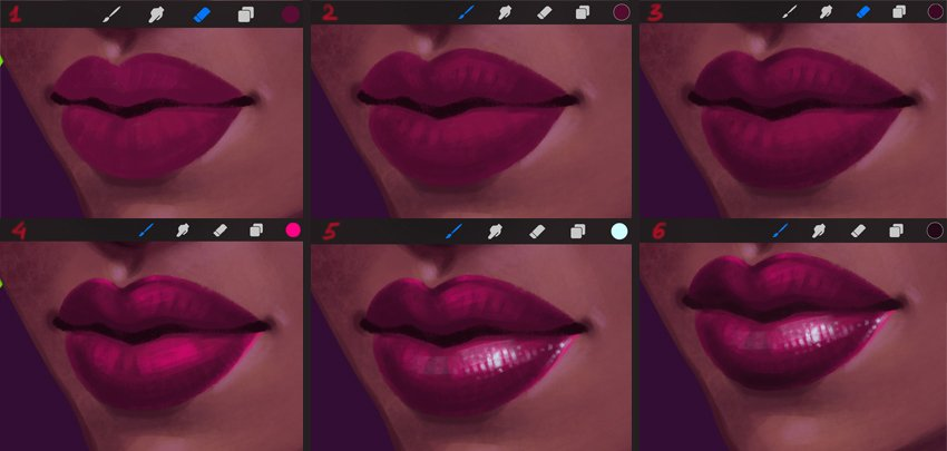 How to Paint a Portrait in Procreate Tutorial add volume to the lips