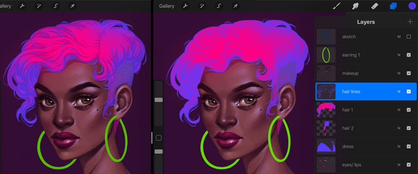 Neon Portrait Tutorial Procreate create separate locks