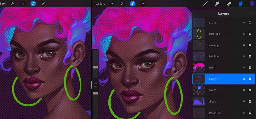 Neon Portrait Tutorial Procreate add volume to the locks