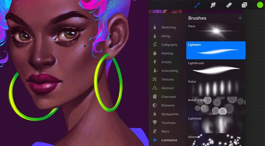 Neon Portrait Tutorial Procreate add shining to earrings